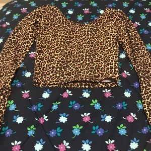 cheetah print stretch crop top: american apparel